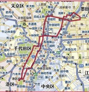 【コース:東京タワーー東京スカイツリー+浅草寺 往復コース(20km)】